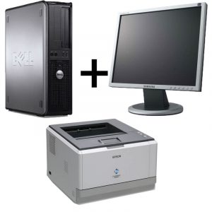 Pachet Calculator Dell Optiplex 360DT, Core2Duo E7500+Monitor 17 inch+Imprimanta laser Epson M2000